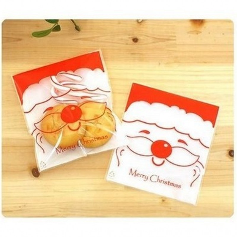 100pcs Santa Claus Self-adhesive Merry Christmas Gift Candy Plastic bag Cookie and Pastry Baking Jewelry Packaging Bags BZ196