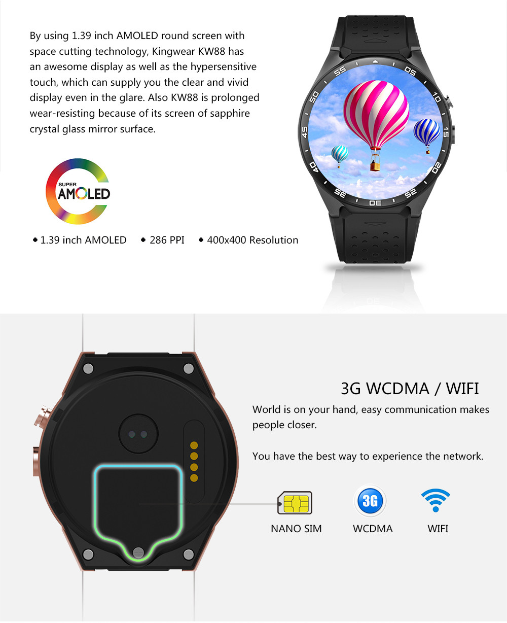 Kw88 android 5.1 smart watch 512 mb + 4 gb bluetooth 4.0 wifi 3g smartwatch telefon kol saati desteği google voice gps harita