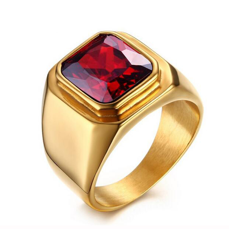 Men Gold-Color Stainless Steel Ring Titanium Red Stone Ring AAA+ Cubic Zirconia Engagement Wedding Ring for Men