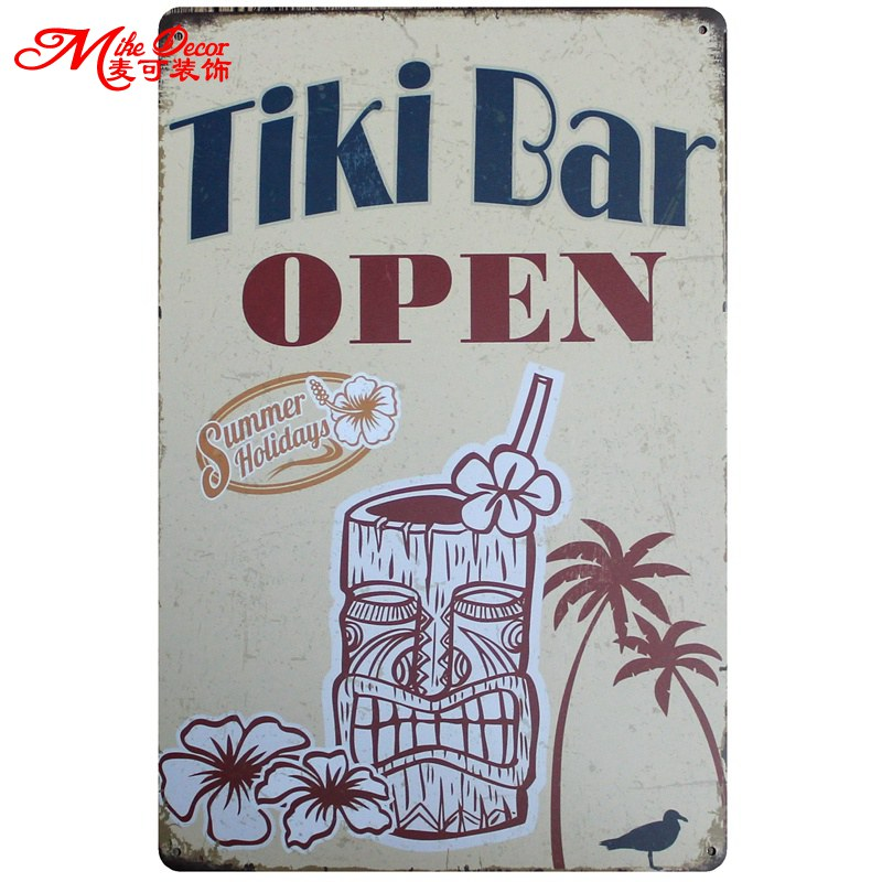 [Mike86] TIKI BAR AÇıK Metal Boyama Retro Metal plak Bar Ev Salonu Tin Dekor 20X30 CM AA-746