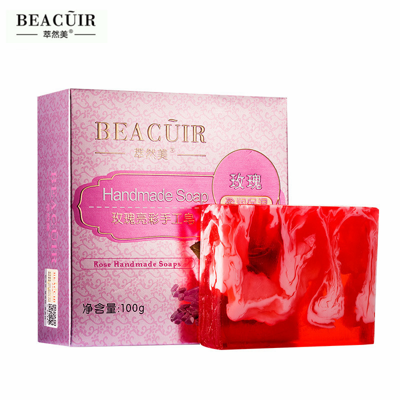 Pure Natural Rose Essential Oil Rose Petals Whitening Handmade Soap Skin Moisturizing Reduce Melanin Cleansing Bath Soap 100G