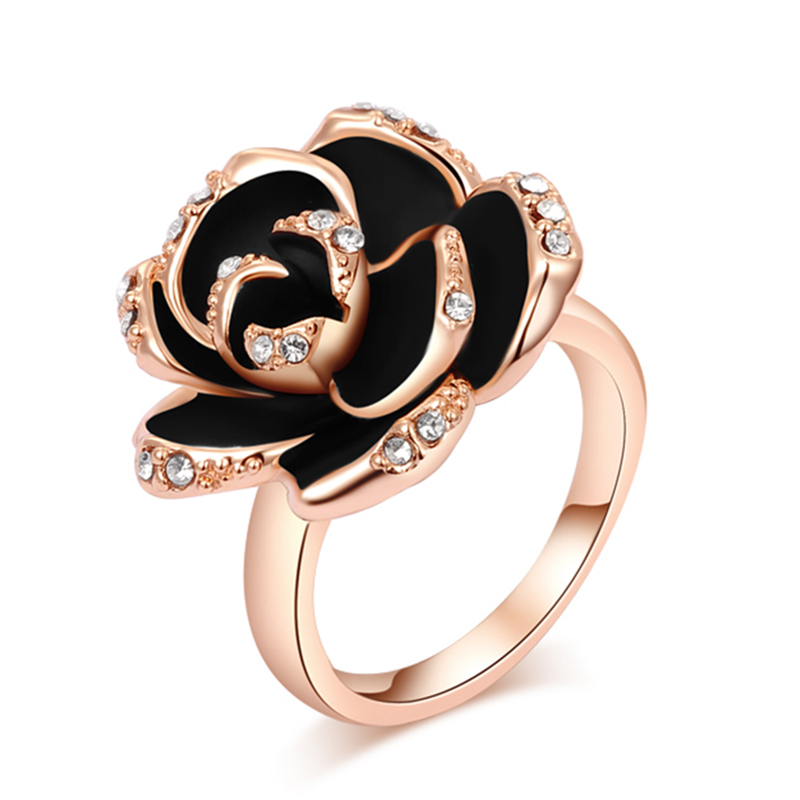 Fashion New Female Jewelry High Quality Rose Gold Color Black Flower Round Pave Austrian Crystal Ring Full Size Wholesale